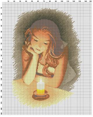 Девушка со свечой схема вышивки 85